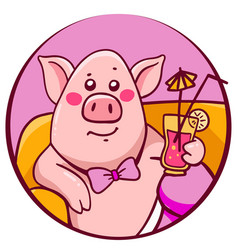 Pink color complacent character pig with cocktail vector