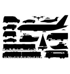public transport set passenger vehicle silhouette vector image