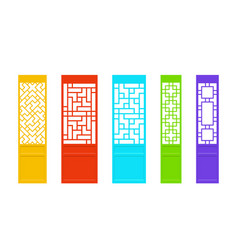Rectangles chinese door in asian style art vector