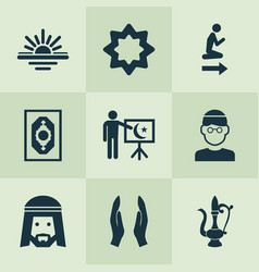 Religion icons set with maghrib muslim lamp and vector
