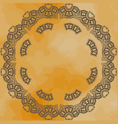 Round mandala frame over old paper vector