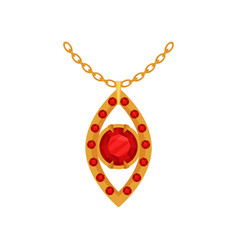 Ruby gold pendant fashionable jewelry vector