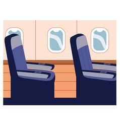 Seats in plane near windows single seat vector