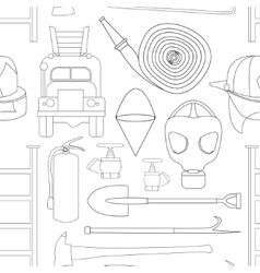 Set icons of firefighting equipment pattern vector image