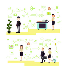 set of airport people symbols icons in vector image