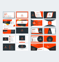 Set of creative double-sided business cards red vector