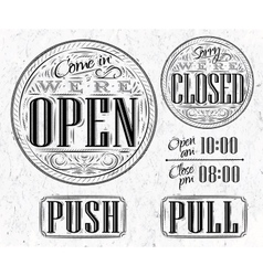 Set vintage open closed vector image