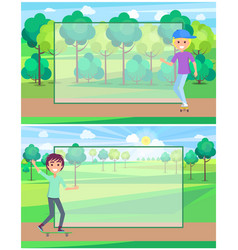 Skateboarding people in sunny park banner vector