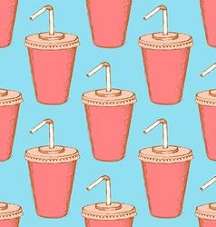 Sketch soda cup in vintage style vector image