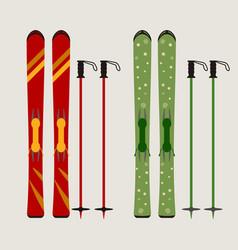 ski and ski sticks vector image