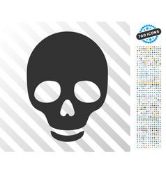 skull flat icon with bonus vector image