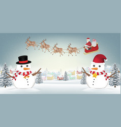snowman reindeer and santa claus on winter village vector image