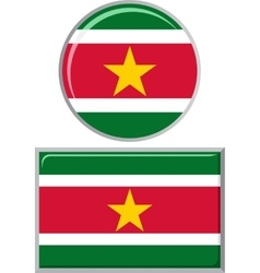 Surinamese round and square icon flag vector image