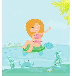 Sweet happy little girl on the beach vector