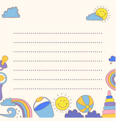 template greeting card baby good weather place vector image