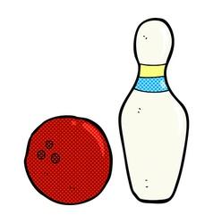 Ten pin bowling comic cartoon vector