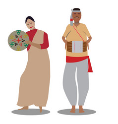 the bihu man plays music and the bihu woman vector image