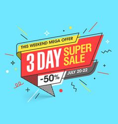 three day super sale banner template in flat vector image