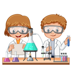 Two kids doing science experiment in class vector
