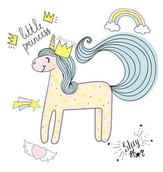 Unicorn hand drawn sketch with patches types vector