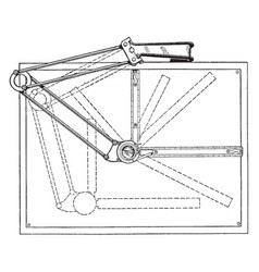 Universal drafting machine surface drawing vector