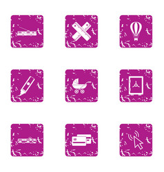 Urban invest icons set grunge style vector