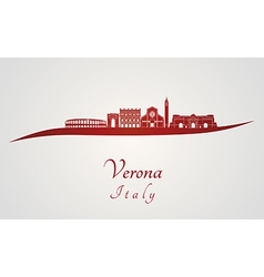 Verona skyline in red vector image