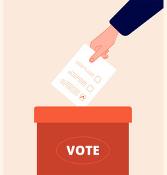 Voting box vote day election packaging hand vector