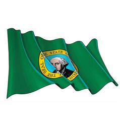 Waving flag washington state vector