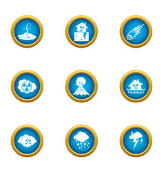 Weather trouble icons set flat style vector