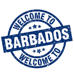 Welcome to barbados blue stamp vector