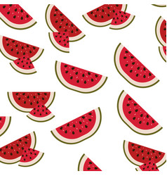 White background with pattern of watermelon sliced vector