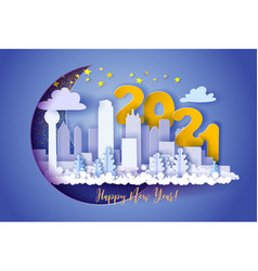 winter snow urban landscape city happy new year vector image