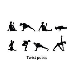 Women silhouettes collection of yoga poses vector