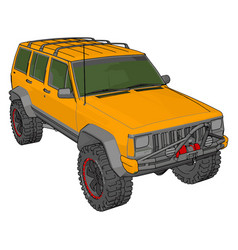 Yellow jeep cherokee on white background vector