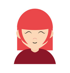 young woman close eyes cartoon character flat icon vector image