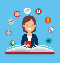 young woman student with education supplies vector image