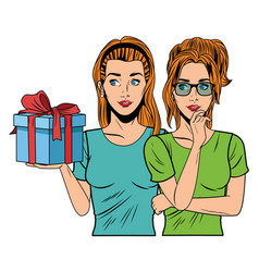 Young women with a gift box vector