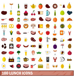 100 lunch icons set flat style vector image vector image
