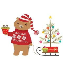 Bear Christmas tree vector image vector image