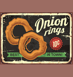 onion rings retro restaurant sign vector image vector image