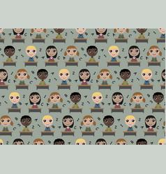 seamless pattern children in school vector image