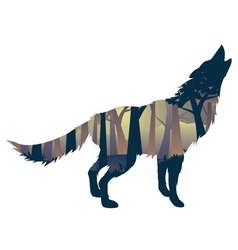 Wolf howling with forest2 vector