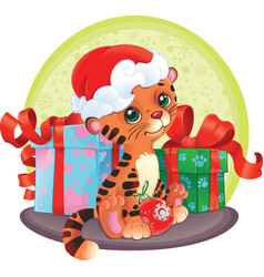 adorable tiger-cub with christmas gifts vector image