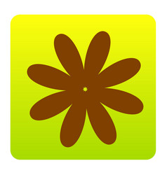 flower sign brown icon at vector image