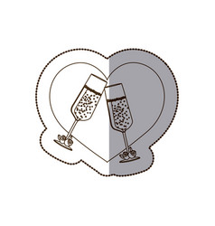 heart with glasses of champagne inside vector image