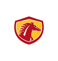 Horse Head Angry Shield Retro vector image