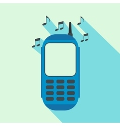 Phone with music flat icon vector image vector image
