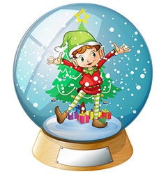 An elf in front of a christmas tree inside a vector image