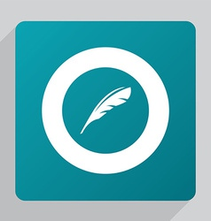 flat feather icon vector image vector image